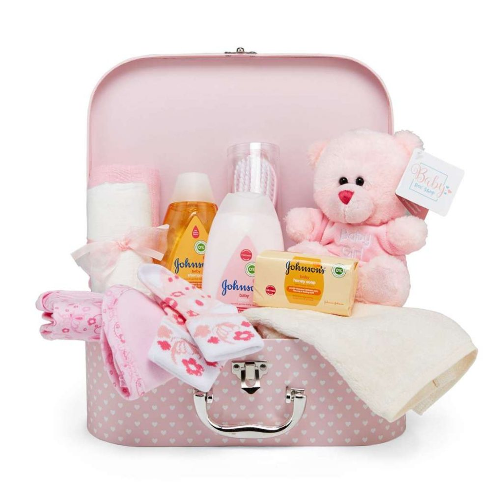 keepsake box in pink with baby clothes