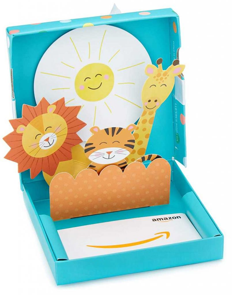 gift card in a welcome baby gift box