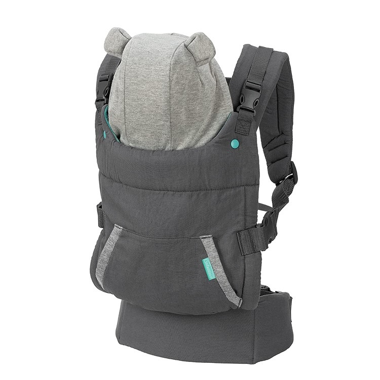 Infantino Cuddle Up Carrier Ergonomic Bear Themed face in Front Carry and Back Carry with Removable Character Hood for Infants and Toddlers 12 40 lbs